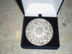 EZÜST NAGY 7 cm ÁTMÉRŐJŰ ASZTROLÓGIA ÉREM,1986 SZÜLETÉSNAP. Rare Silver Astrology Coin