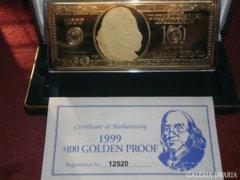 100 USA DOLLÁR 999.9 EZÜST - ARANY BANKJEGY, BANKJEGYVERET