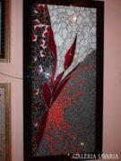 Piszkátor Ildikó:Örömvirág - üvegmozaik kép, lámpa