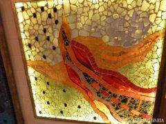 Piszkátor Ildikó: Szárnyas angyal - üvegmozaik kép, lámpa