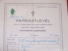 1885-ös Keresztelő levél kivonata
