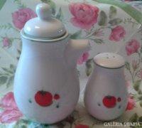 Porcelán salátás készlet, olaj és sótartó