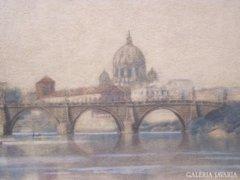Koszkol Jenő (1868-1935): Az Angyalvár látképe a Tiberissel