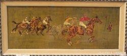 Lóverseny jelenet, festett, vésett fa