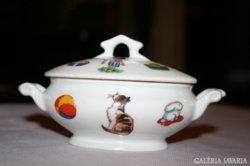 Aquincum Hüttl Tivadar babajáték porcelán levesestál