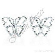 Egyedi 14 K fehér arany pillangó fülbevaló