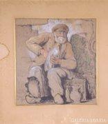 Ismeretlen francia művész: Kenyérszegő koldus, 1913