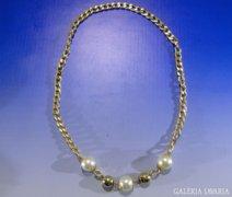 0A442 Arany színű modern bizsu női nyaklánc nyakék
