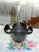 Muránói üveg súlyos mályva  kosár asztalközép