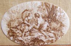 Rokokó miniatűr, 18. század, szerelmi jelenet