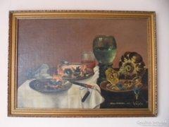 Vajda: asztali csendélet olaj / Wilem Claesz Heda