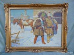 Y960 Hódi Géza téli orosz lovas életkép