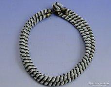 0A158 Régi gyöngyfűzött három soros női nyaklánc