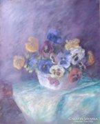 Ismeretlen festő: Virágcsendélet, pasztell