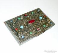 Antik névkártya tartó aranyozott színes kövekkel