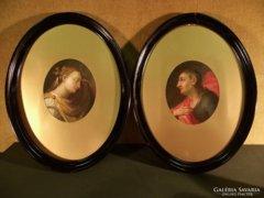 Jézus és Mária Magdolna, barokk portrék fémlemezen