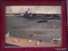 Ismeretlen angol festő: Kikötői látkép, 1900 k.