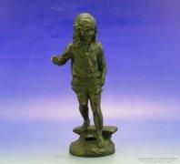 0A769 Antik spiáter iskolás kislány szobor