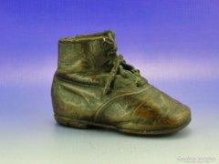 0A778 Antik valódi bőr kiscipő bronzba mártva