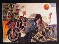 B TÓTH szignóval 1982-es 37x50 cm kollázs
