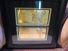 500-1000 EURO 24Kt ARANY BANKJEGY LUXUS SZET,2 ARANYPÉNZ