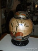 Indiai tűzzománc fedeles váza