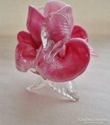 Csodás antik öntött üveg bohemian gyertyatarto/kis váza