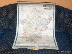 Régi Békés megyei térkép vásznon - 1958