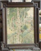 Német festő: Fiúk a patakparton, akvarell, 1925