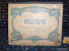 Régi RAJZTÖMB kemény kartonból, monogramos