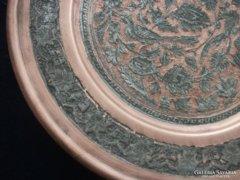 Perzsa Quajar madár-virág mintás berakásos trébelt-poncolt nagy dísztál-29 cm