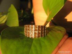 Csupacsupa borostyánszín köves 925  vastag ezüstgyűrű