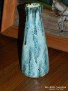 Jelzett iparművészeti csurgatott mázas váza