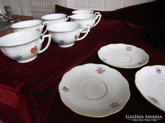 ZSOLNAY teás csésze szett 6 darabos +ajándék 3 alj