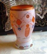 Biedermeier festett üveg pohár