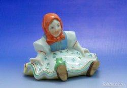 0A860 Antik Herendi porcelán ülő kislány békával