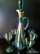 VINTAGE BOHEMIA aranyozott üveg kiöntő - palack dugóval - karaffa + 5 pohár
