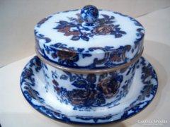 Antik angol porcelánfajansz vajtartó