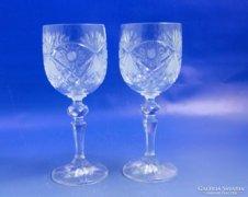 0B189 Jelzett talpas csiszolt kristály pohár pár
