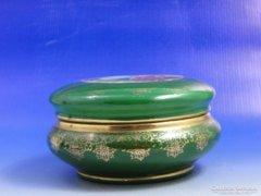 0B337 Régi Hollóházi méregzöld porcelán bonbonier