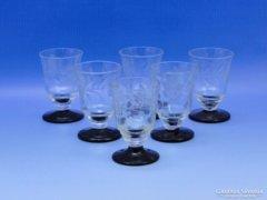 0B532 Régi csiszolt üveg pálinkás pohár 6 db