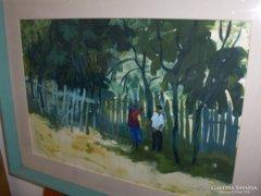 Zámbó Kornél festménye : Kertben c.