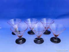 0B590 Régi art deco likőrös talpas üveg pohár 6 db