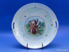 0B673 Régi jelenetes irizáló cseh porcelán kínáló