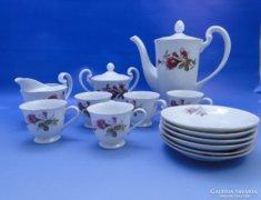 0B649 Régi virágmintás porcelán kávés készlet