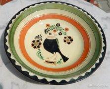 Karzag iparművészeti nagy fali tányér - madár