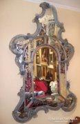 Velencei rokokó csiszolt tükör, 18. század, Murano