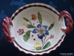 MAJOLIKA virágos  látványos asztalközép fonott fogókkal 24x7,5 cm