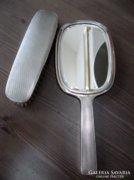 Antik Art Deco ezüst pipere tükör ezüst kefével