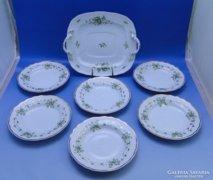 0B997 Hollóházi porcelán süteményes készlet 7 db